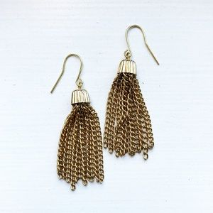 Vintage gold tassel fringe drop earrings